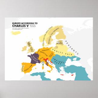 Europa según Charles V, emperador romano santo Póster