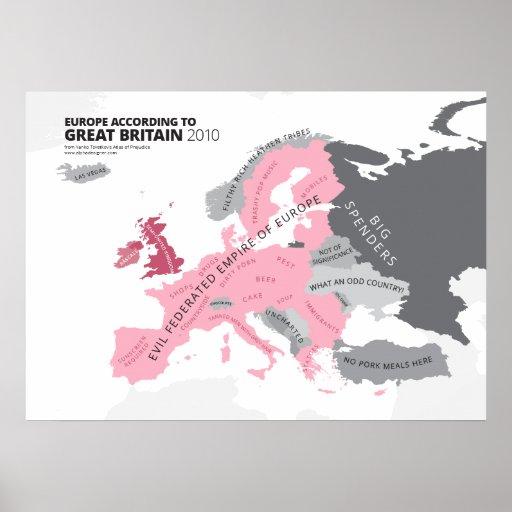 Europa según Gran Bretaña Impresiones