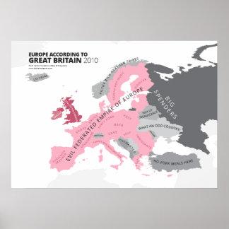 Europa según Gran Bretaña Póster