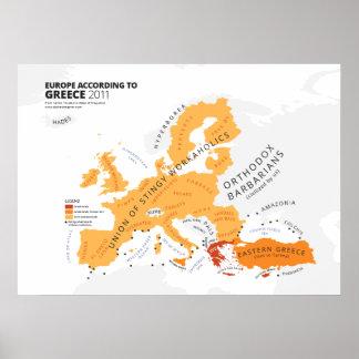 Europa según Grecia Póster