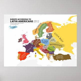Europa según latinoamericanos póster