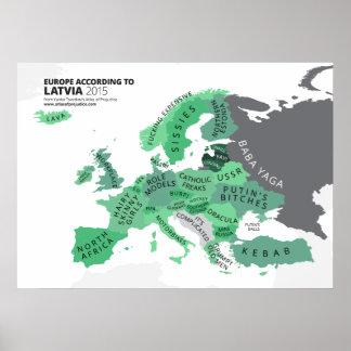 Europa según Letonia Póster