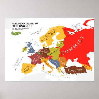 Europa según los E.E.U.U. Póster