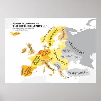 Europa según los Países Bajos Póster