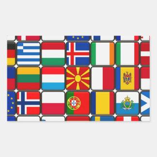 Europa señala el mundo y la paz por medio de una rectangular altavoz