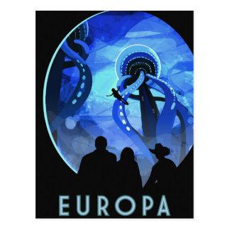 Europa Space Travel Retro Art Postcard