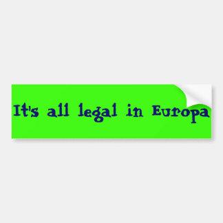 Europa, tierra del libre pegatina de parachoque