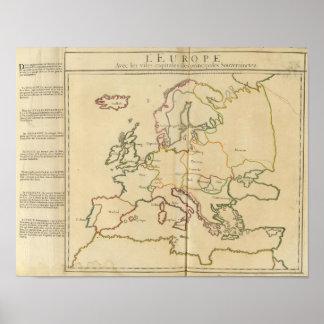 Europa y ciudades importantes póster