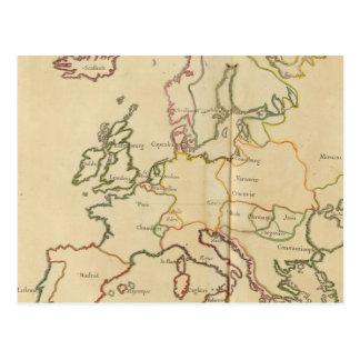 Europa y ciudades importantes tarjeta postal