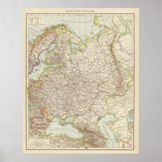 Europaisches Russland - mapa de Europa y de Rusia Póster