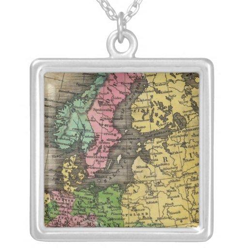 Europe 12 square pendant necklace