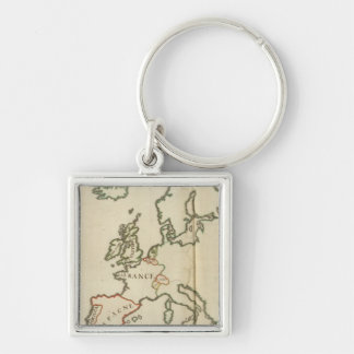Europe 32 Silver-Colored square keychain