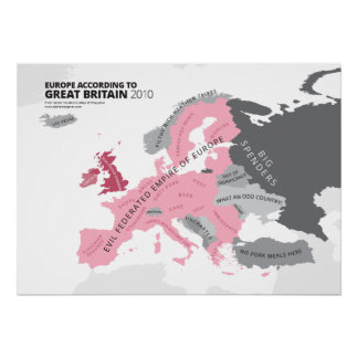 Europe According to Great Britain Poster