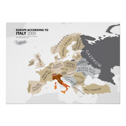 Europe According to Italy Poster