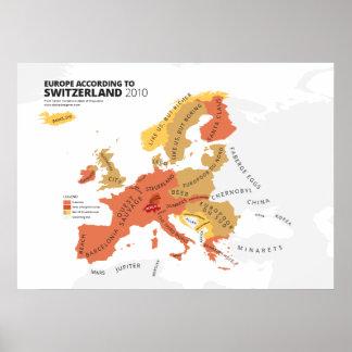 Europe According to Switzerland Poster