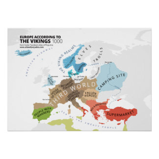 Europe According to the Vikings Poster