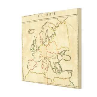 Europe and Major Cities Outline Stretched Canvas Print