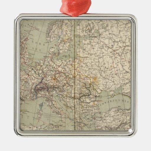 Europe Atlas Map showing railroads Metal Ornament