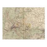 Europe Atlas Map showing railroads Postcard