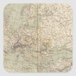Europe Atlas Map showing railroads Square Sticker