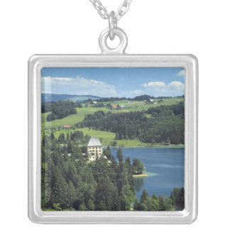 Europe, Austria, Fuschl. Schloss Fuschl Castle Silver Plated Necklace