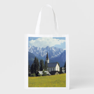 Europe, Austria, Gosau. The spire of the church Grocery Bag