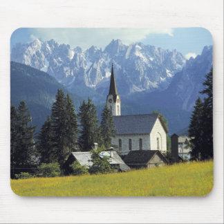 Europe, Austria, Gosau. The spire of the church Mouse Pad