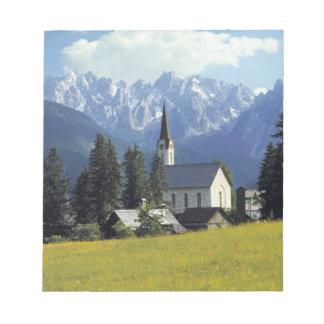Europe, Austria, Gosau. The spire of the church Memo Pads