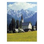 Europe, Austria, Gosau. The spire of the church Postcard