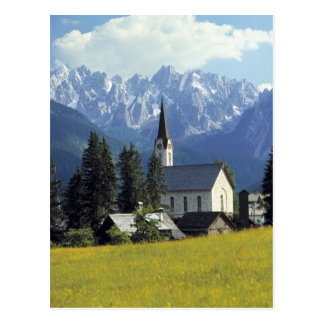 Europe, Austria, Gosau. The spire of the church Postcard