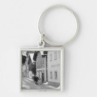 Europe, Austria, Hallstat. Snowy street Key Chain