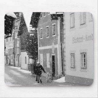 Europe, Austria, Hallstat. Snowy street Mouse Pad