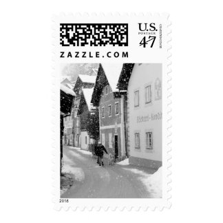 Europe, Austria, Hallstat. Snowy street Postage Stamp