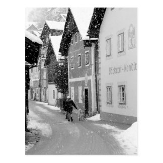 Europe, Austria, Hallstat. Snowy street Postcard