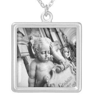 Europe, Austria, Salzburg. Cherub and monument 3 Silver Plated Necklace