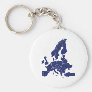 Europe Basic Round Button Keychain