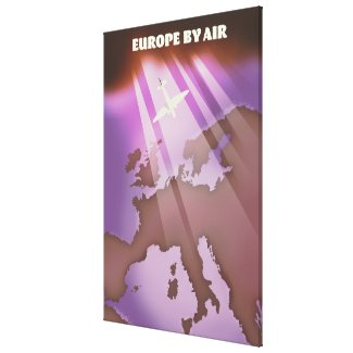 Europe By Air vintage style travel poster. Canvas Print