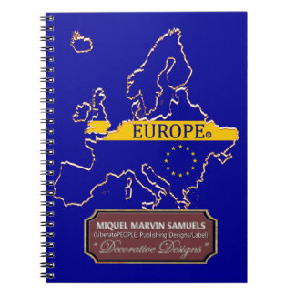 Europe continent outline Flag Color Notebook