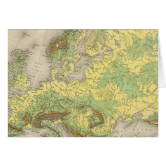 Europe contour map greeting cards