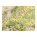 Europe contour map post card