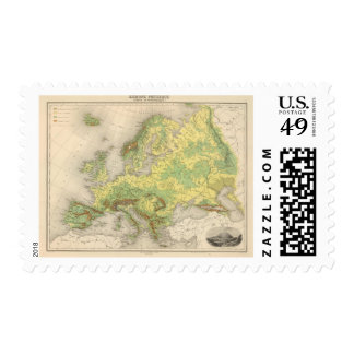 Europe contour map postage stamp