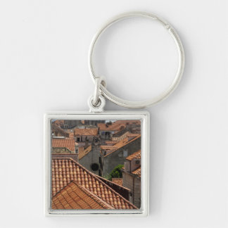 Europe, Croatia. Medieval walled city of 2 Silver-Colored Square Keychain