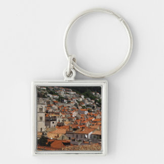 Europe, Croatia. Medieval walled city of Silver-Colored Square Keychain