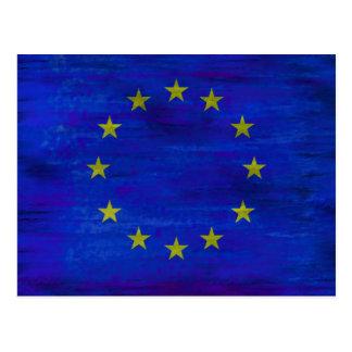 Europe distressed European flag Postcard