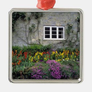 Europe, England, Teffont Magna. Flowers fill Christmas Ornament