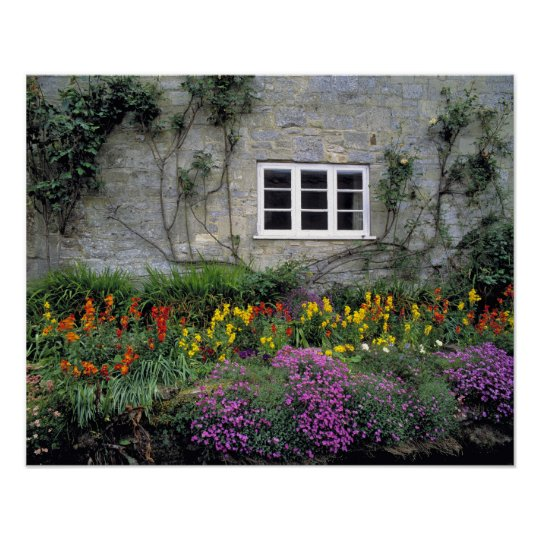 Europe, England, Teffont Magna. Flowers fill Poster