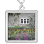 Europe, England, Teffont Magna. Flowers fill Square Pendant Necklace