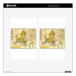 Europe ethnic map 1897 (hungarian version) decals for kindle fire