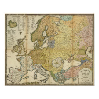 Europe Ethnography Map Poster