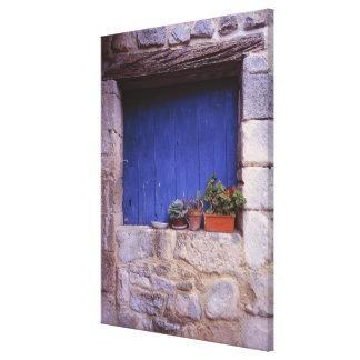 Europe, France, Cereste. A blue door adds color Canvas Print